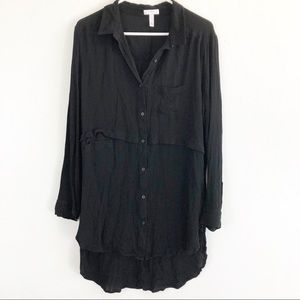Leith Black Long Sleeve Button Down Top
